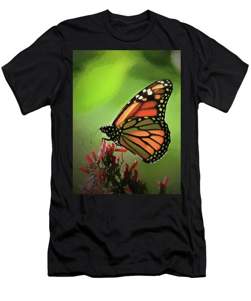 Men's T-Shirt (Athletic Fit) featuring the photograph Stained Glass Butterfly by Penny Lisowski