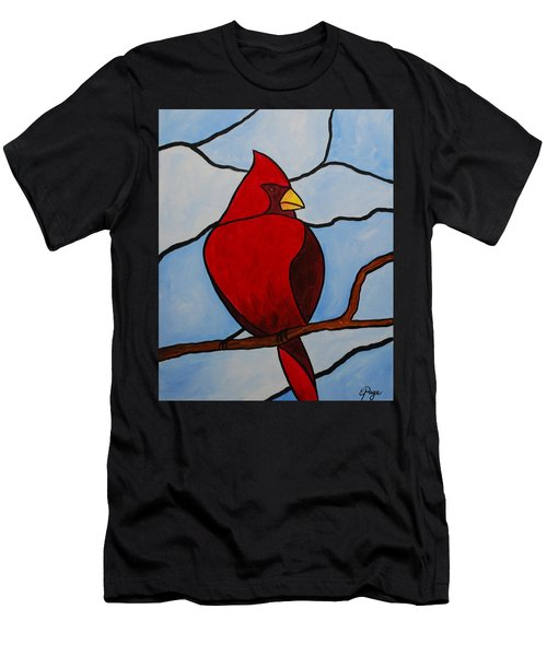 Stained Glass Cardinal Men's T-Shirt (Athletic Fit)
