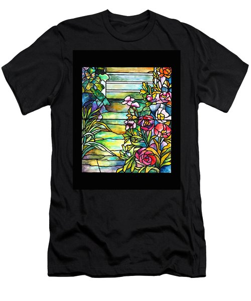 Stained Glass Tiffany Robert Mellon House Men's T-Shirt (Slim Fit) by Donna Walsh