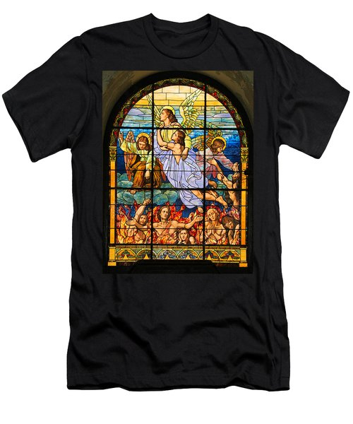 Stained Glass Window Men's T-Shirt (Slim Fit) by Elizabeth Budd