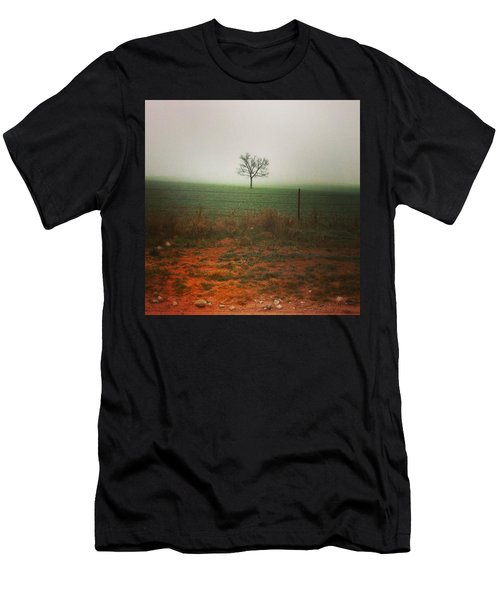 Standing Alone, A Lone Tree In The Fog. Men's T-Shirt (Athletic Fit)