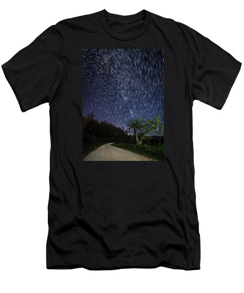 Star Trail Over The Blue Ridge Men's T-Shirt (Slim Fit) by Serge Skiba