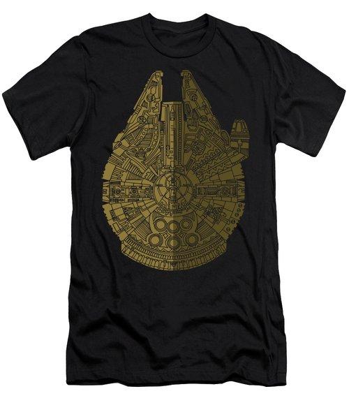 Star Wars Art - Millennium Falcon - Black, Brown Men's T-Shirt (Slim Fit) by Studio Grafiikka