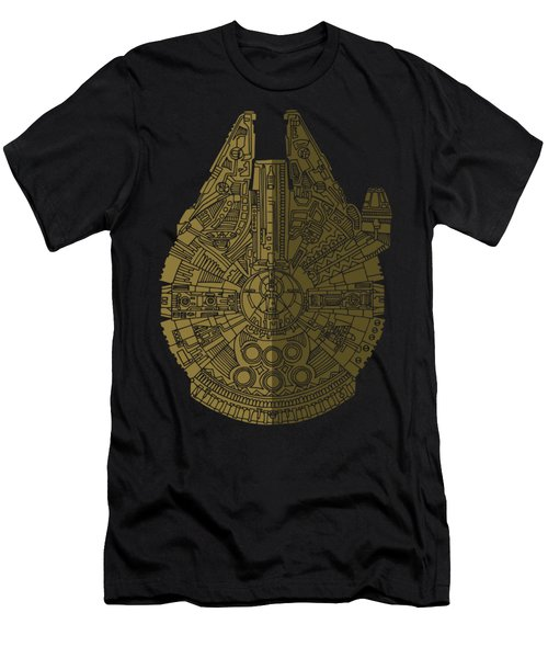 Star Wars Art - Millennium Falcon - Black, Brown Men's T-Shirt (Athletic Fit)