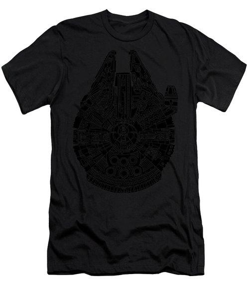 Star Wars Art - Millennium Falcon - Black Men's T-Shirt (Athletic Fit)