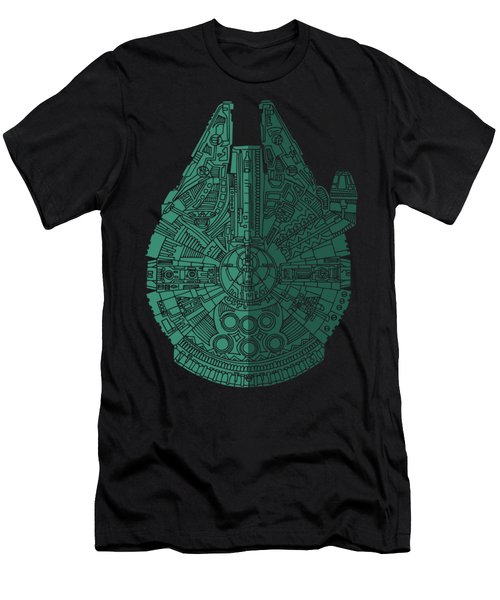 Star Wars Art - Millennium Falcon - Blue Green Men's T-Shirt (Athletic Fit)
