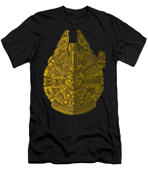 Star Wars Art - Millennium Falcon - Brown Men's T-Shirt (Slim Fit) by Studio Grafiikka
