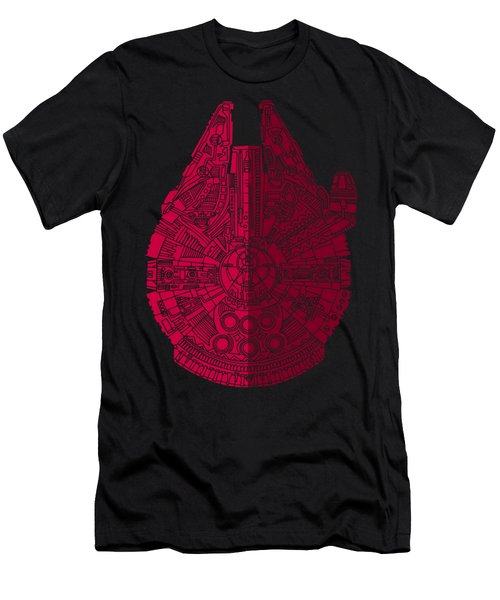 Star Wars Art - Millennium Falcon - Red, Black Men's T-Shirt (Athletic Fit)