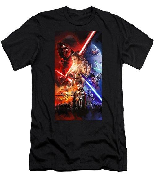 Star Wars The Force Awakens Artwork Men's T-Shirt (Athletic Fit)