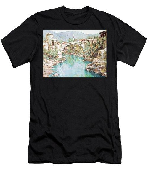 Stari Most Bridge Over The Neretva River In Mostar Bosnia Herzegovina Men's T-Shirt (Athletic Fit)
