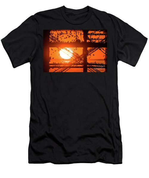 Starlings At Sunset Under Aberystwyth Pier Men's T-Shirt (Athletic Fit)