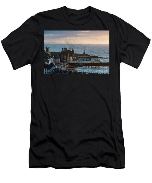 Starlings Over Aberystwyth On The West Wales Coast Men's T-Shirt (Athletic Fit)