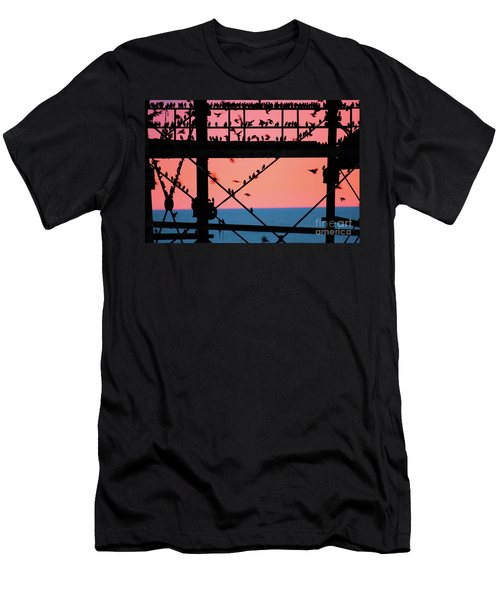 Starlings Under Aberystwyth Pier Men's T-Shirt (Athletic Fit)