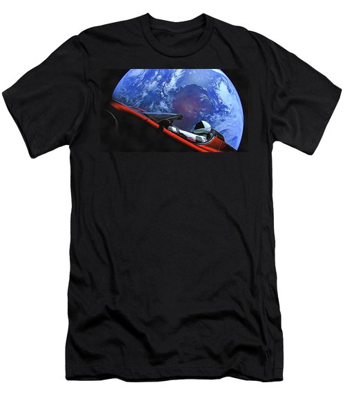 Starman In Tesla With Planet Earth Men's T-Shirt (Athletic Fit)