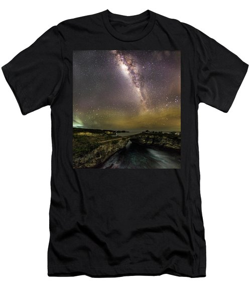Men's T-Shirt (Athletic Fit) featuring the photograph stary night in Broken beach by Pradeep Raja Prints