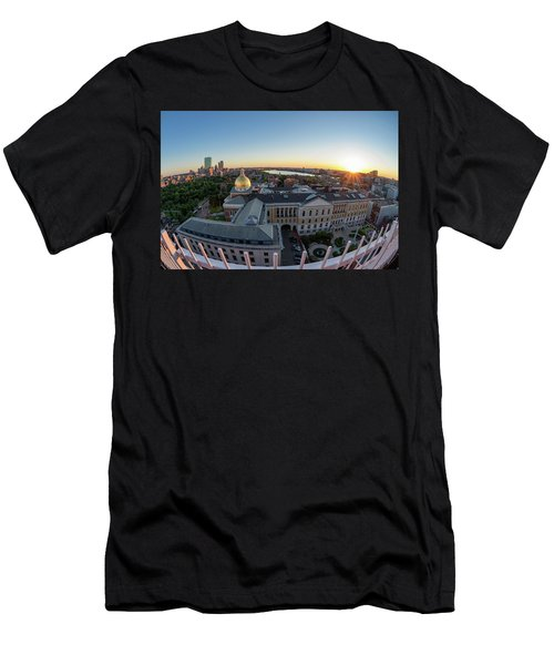 Men's T-Shirt (Athletic Fit) featuring the photograph State House,fisheye View by Michael Hubley