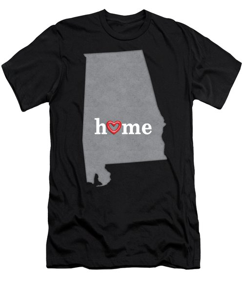 State Map Outline Alabama With Heart In Home Men's T-Shirt (Athletic Fit)