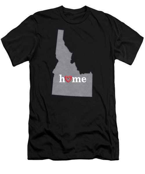 State Map Outline Idaho With Heart In Home Men's T-Shirt (Athletic Fit)