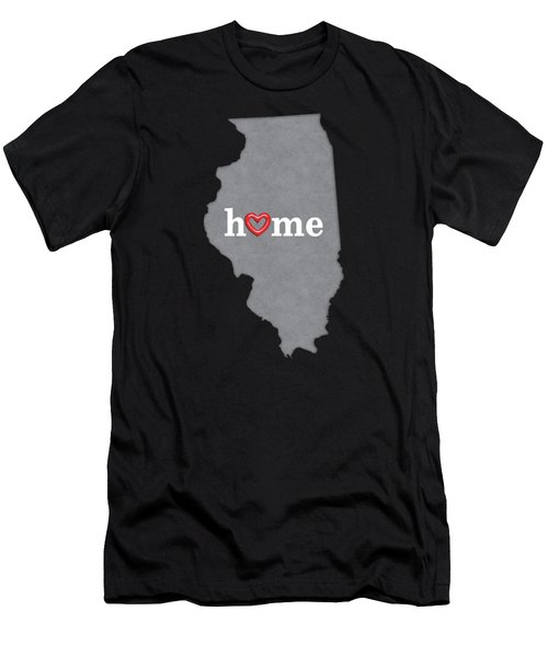 State Map Outline Illinois With Heart In Home Men's T-Shirt (Athletic Fit)