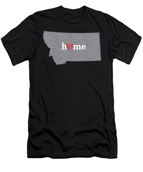 State Map Outline Montana With Heart In Home Men's T-Shirt (Athletic Fit)