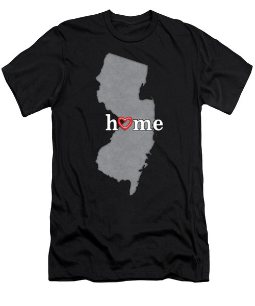 State Map Outline New Jersey With Heart In Home Men's T-Shirt (Athletic Fit)