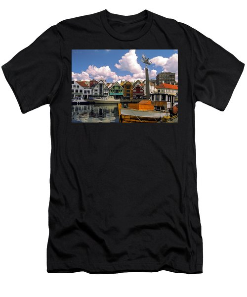Stavanger Harbor Men's T-Shirt (Slim Fit) by Sally Weigand