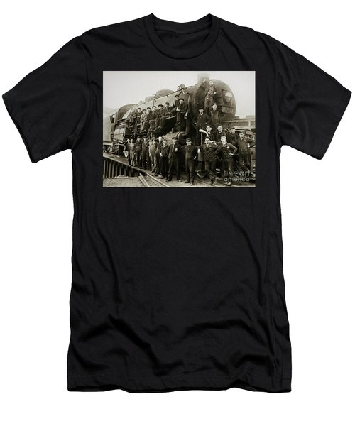 Steam Engine 351 On Turntable Coxton Yards Coxton Pennsylvania Early 1900s Men's T-Shirt (Athletic Fit)
