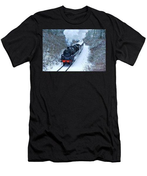 Steam Locomotive 73129 In Snow Men's T-Shirt (Athletic Fit)
