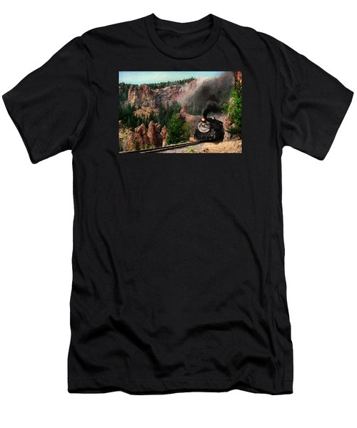 Men's T-Shirt (Slim Fit) featuring the photograph Steam Through The Rock Formations by Ken Smith
