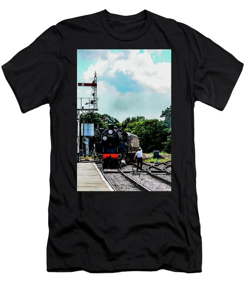 Steam Train Approaching Men's T-Shirt (Athletic Fit)