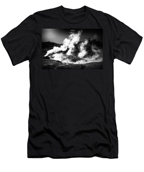 Men's T-Shirt (Athletic Fit) featuring the photograph Steaming Iceland Black And White Landscape by Matthias Hauser