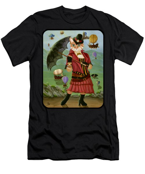 Steampunk Cat Gal - Victorian Cat Men's T-Shirt (Athletic Fit)
