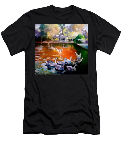 Men's T-Shirt (Slim Fit) featuring the painting Stephens Green Dublin Ireland by Paul Weerasekera
