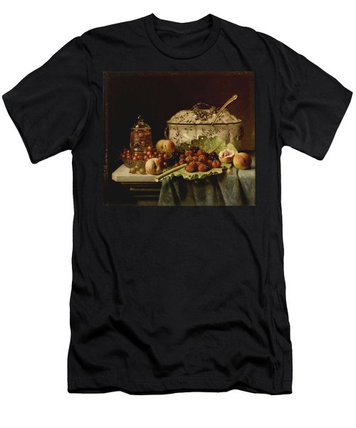 Still Life  Fruit And Dishes  Late 19th Century Oil On Panel Gottfried Schultz  German  1842  1919 Men's T-Shirt (Athletic Fit)