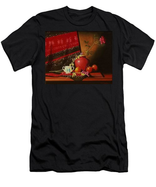 Still Life With Red Vase. Men's T-Shirt (Athletic Fit)