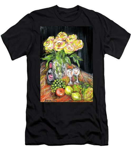 Still Life With Roses, Fruits, Wine. Painting Men's T-Shirt (Athletic Fit)