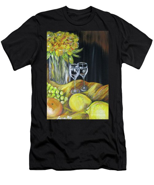 Still Life With Wine Glasses, Roses And Fruit. Painting Men's T-Shirt (Athletic Fit)