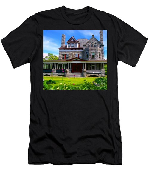 Men's T-Shirt (Slim Fit) featuring the photograph Stone Mansion Garden by Becky Lupe