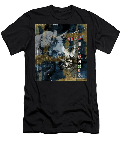 Stop Rhino Poachers Wildlife Conservation Art Men's T-Shirt (Slim Fit) by Nola Lee Kelsey