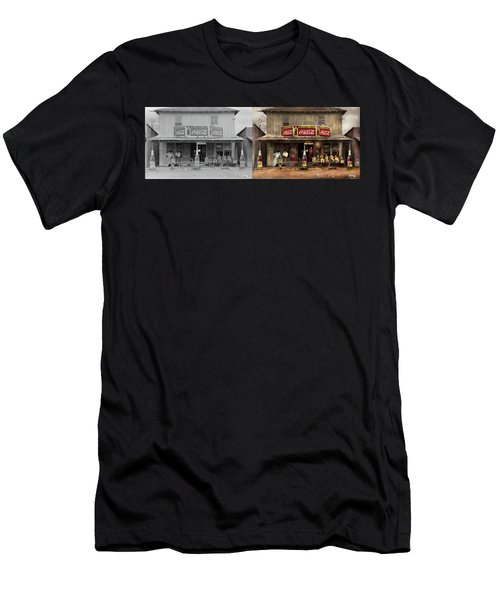 Men's T-Shirt (Slim Fit) featuring the photograph Store - Grocery - Mexicanita Cafe 1939 - Side By Side by Mike Savad