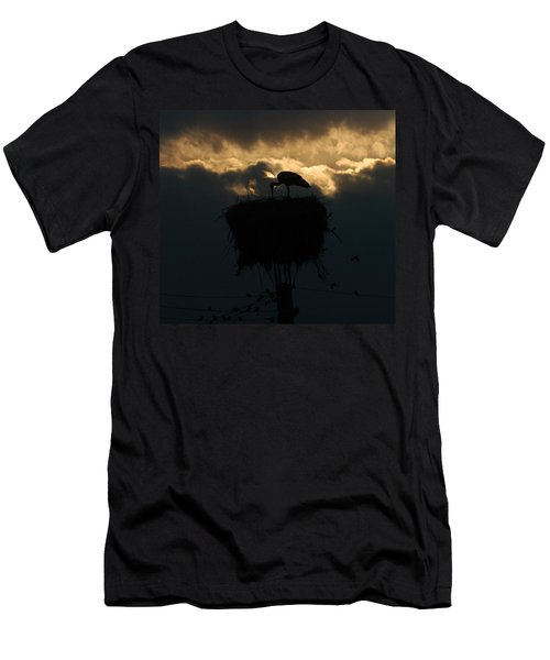 Stork With Evening Sun Light  Men's T-Shirt (Athletic Fit)