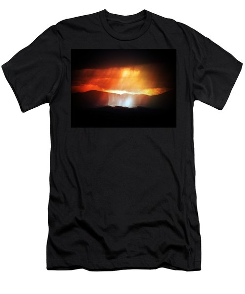 Men's T-Shirt (Slim Fit) featuring the photograph Storm Glow Night Over Santa Fe Mountains by Joseph Frank Baraba