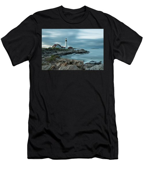 Storm Passing At Portland Head Light Men's T-Shirt (Athletic Fit)