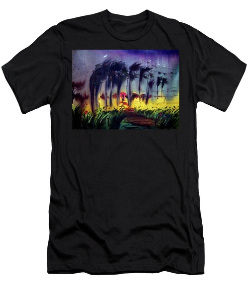 Men's T-Shirt (Slim Fit) featuring the painting Storm by Samiran Sarkar