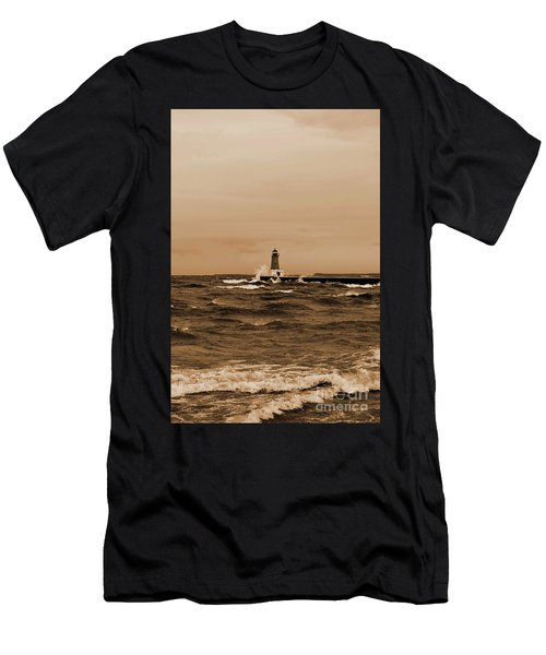 Storm Sandy Effects Menominee Lighthouse Sepia Men's T-Shirt (Athletic Fit)