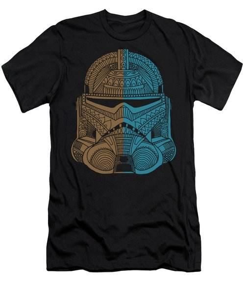 Stormtrooper Helmet - Star Wars Art - Brown Blue Men's T-Shirt (Athletic Fit)