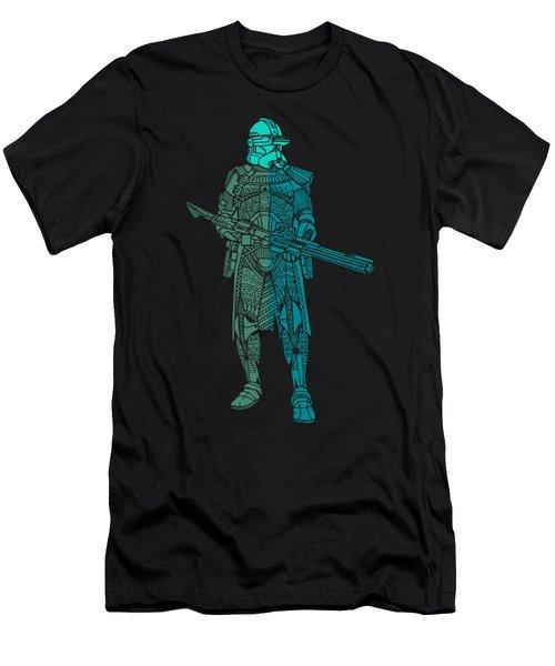 Stormtrooper Samurai - Star Wars Art - Blue, Navy, Teal Men's T-Shirt (Athletic Fit)