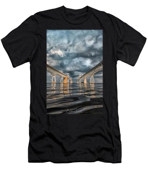 Stormy Chesapeake Bay Bridge Men's T-Shirt (Athletic Fit)