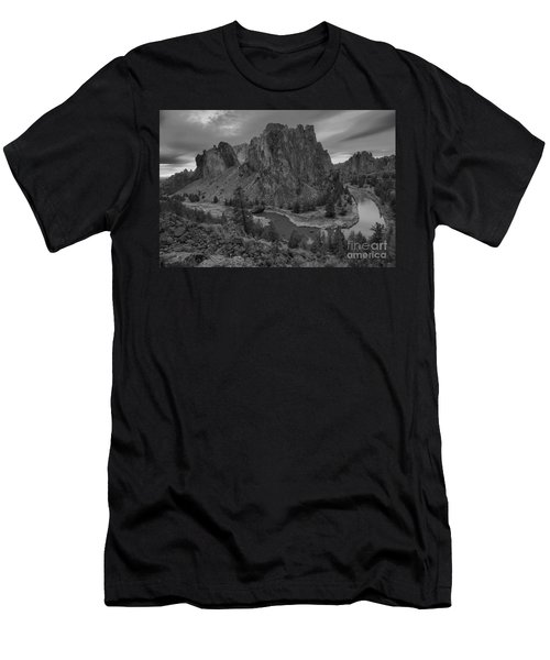 Stormy Skies Over Smith Rock - Black And White Men's T-Shirt (Athletic Fit)