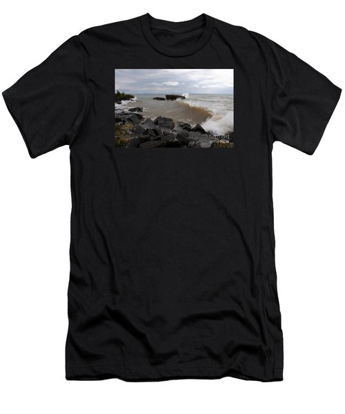 Men's T-Shirt (Slim Fit) featuring the photograph Stormy Superior Morning by Sandra Updyke